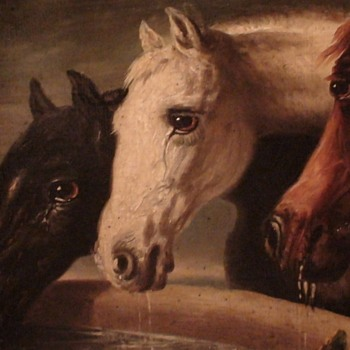 Three Horses 19th Century Unsigned Oil On Canvas Board - Fine Art