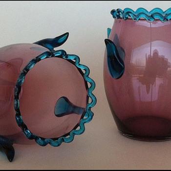 Pair Horny Harrach ( ? ) Vases   - Art Glass