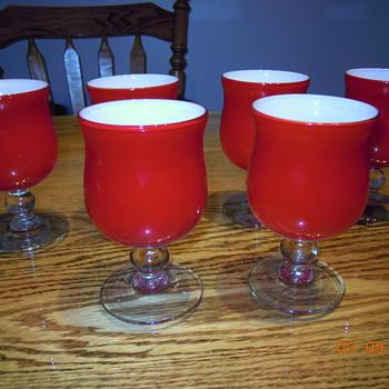vintage murano cased glass goblets - Art Glass