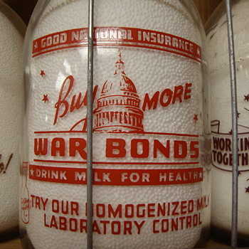 J.F. McADAMS & BROS...CHELSEA MASSACHUSETTS WAR SLOGAN MILK BOTTLE.... - Bottles
