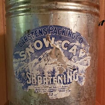 Carstens Packing Co. Snow Cap Shortening  50lb Tin. - Advertising