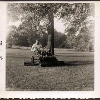Family Photo - Grandfather on Mower - Photographs