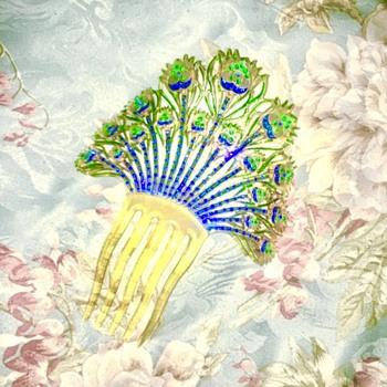 1920s Art Deco Peacock Feather Mantilla Comb  - Art Deco
