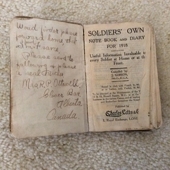 This WWI diary belonged to my grandpa's brother Cedric. - Military and Wartime