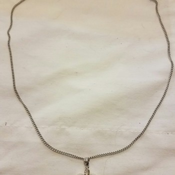 Vintage?? Real Silver and perhaps faux pearl necklace - Costume Jewelry