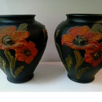 """Tiffin"" 8"" Black Amethyst Satin Glass Vases With Hand Painted ""Coralene"" Poppies/ Circa 1920 - Art Glass"