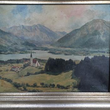 """Franz Hofstötter (1871-1958) Original Oil Painting, """"Wiessee 35."""", 1935 - Fine Art"""