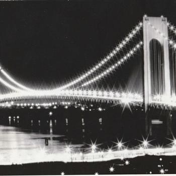 Lighting the Verrazzano-Narrows Bridge (1964) - Photographs