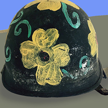 "Vintage 60s California ""Flower Power"" Anti-War Protest Helmet - Military and Wartime"