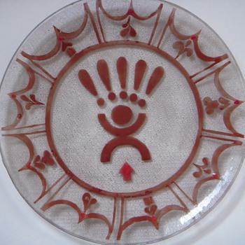 Curious Modern Art Glass Plate~Provincetown MA~Signed FRANK BALL - Art Glass