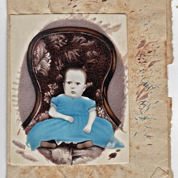 Ivory painting ready to cut for a Oval Portrait Miniature - Photographs