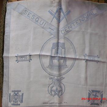 Philadelphia Masonic Sesqui-Centennial Silk Scarf  from 1926  - Accessories
