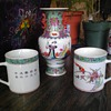asian coffee cups turquoise hand painted