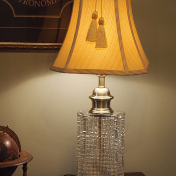 James Clew Brass and Crystal Decanter Lamp