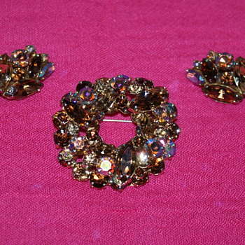 Vintage Sherman Brooch and Earrings - Costume Jewelry
