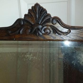 RESCUED/RESTORED antique beveled glass mirror in quartersawn oak frame, part 2 - Furniture