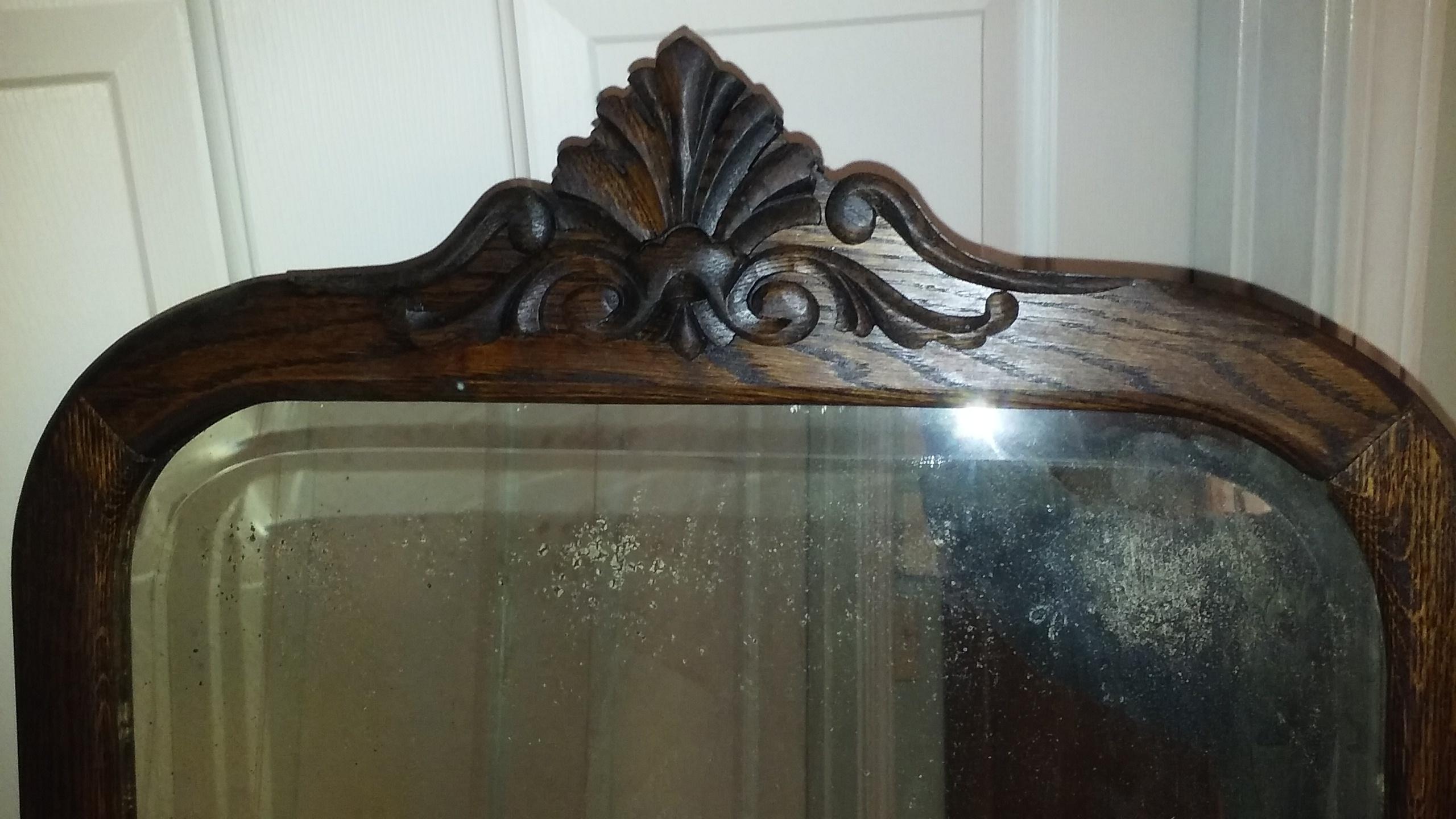 Rescuedrestored Antique Beveled Glass Mirror In Quartersawn Oak