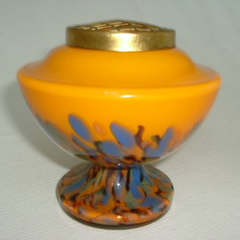 Bottom Up Spatter Glass Rose Bowl - Art Glass