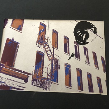 Print - Man Parachuting next to fire escape - Posters and Prints