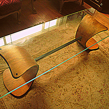 Art Deco Coffee Table, Mid Century, Thick Glass 60 Inches Long, Canadian? - Art Deco