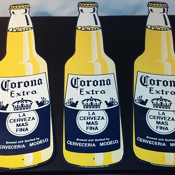 three embossed metal CORONA EXTRA beer bottle signs - Breweriana