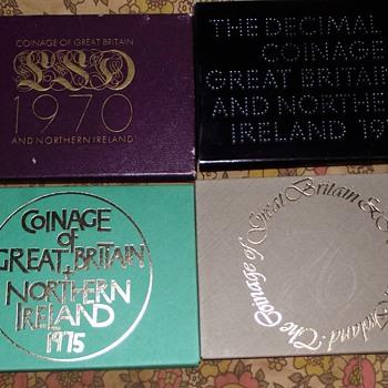 1970-76, uk coin sets-1st decimal/last £sd.