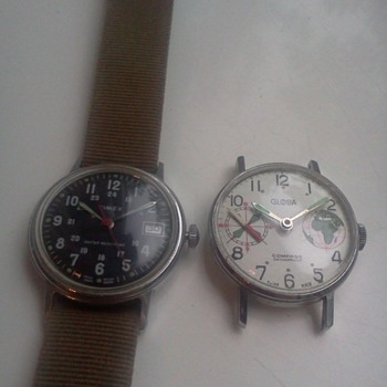 1960's  Globa Compass watch, and 1976 Timex military style watch