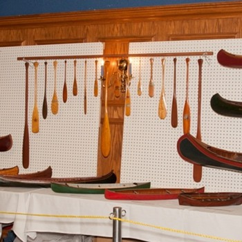 antique model canoe, kayak and miniature paddle displays - Sporting Goods