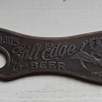 Kauffman's Gilt Edge Beer brass bottle opener - Breweriana