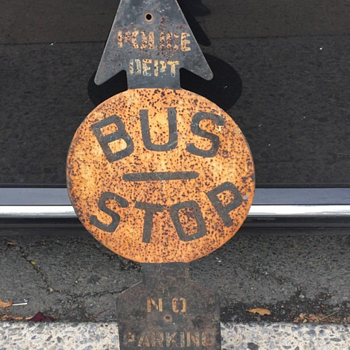 "1940s New York City ""BUS STOP"" arrow sign - Signs"