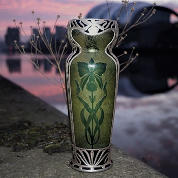 BOHEMIAN CAMEO GLASS VASE WITH SILVER OVERLAY LARGE - Art Glass
