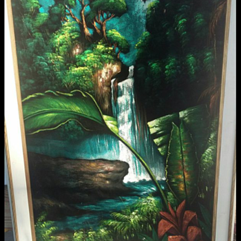 1960s Pagsanjan Falls Phillipines oil on black velvet - Fine Art
