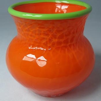 "Loetz ""Mango Tango"" Martelé Cabinet Vase or Toothpick Holder - Art Glass"