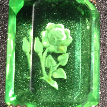 Glass and Sterling Pin With Etched Rose - Victorian Era