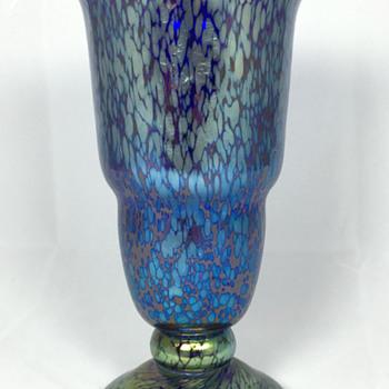 "Loetz Cobalt Papillion Vase. 7.5"" tall. PN Unknown. Circa 1918+ - Art Glass"