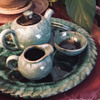 Blue Mountain Pottery, Single Serving Tea Set — Green Drip
