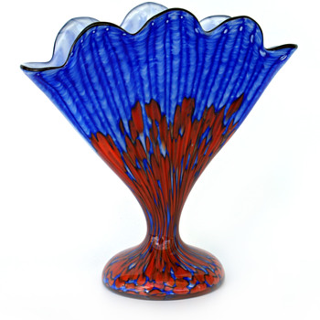 WELZ Fan Vase...Blue/Red Stripes and Spots - New addition to the Garden - Art Glass