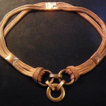Antique gold/brass, mesh necklace for infants? - Costume Jewelry