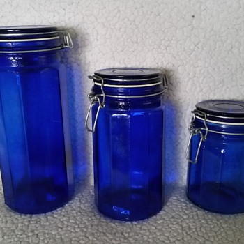 blue containers  - Bottles