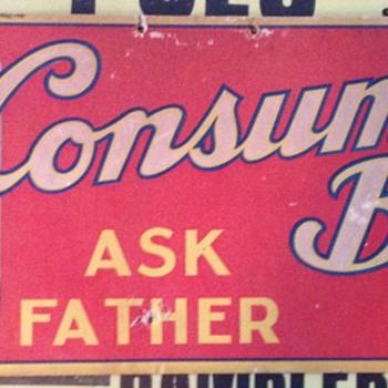 1930's Consumer's Beer Cardboard sign