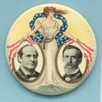 Bryan & Kern button from 1908 - Medals Pins and Badges