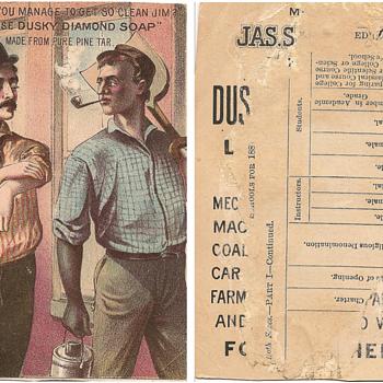 Dusky Diamond Soap trade card, 1870 - Paper
