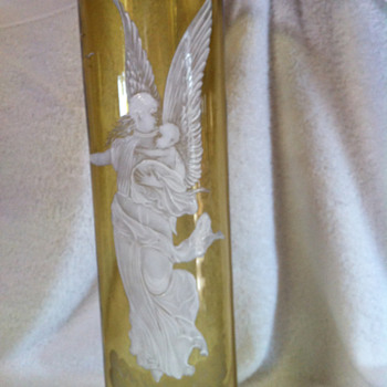 Closeup of a Angel with Child Mary Gregory vase - Art Glass
