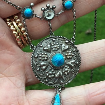 Antique Silver Enamel Art and Craft Necklace/Pendant - Arts and Crafts