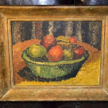 Bowl of Fruit Midcentury Painting