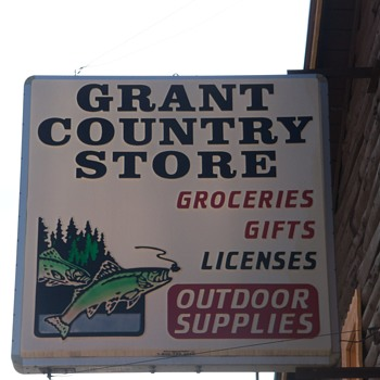 Vintage Country Store sign just before it was taken down