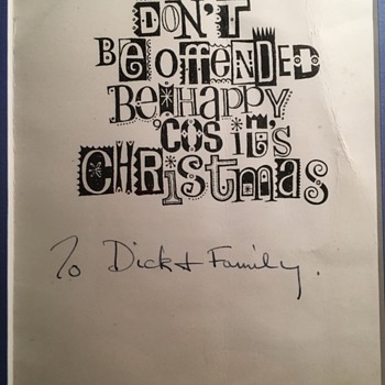 George Harrison inscribed Xmas card-1964 - Music Memorabilia