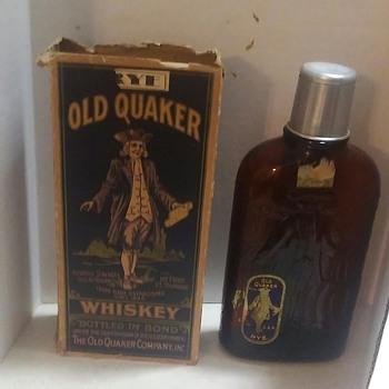 Prohibition Era Old Quaker Rye Whiskey Bottle With. Box - Bottles