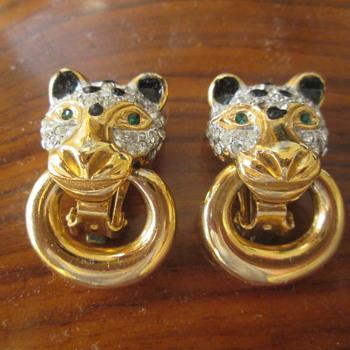 Leopard head earrings - Costume Jewelry