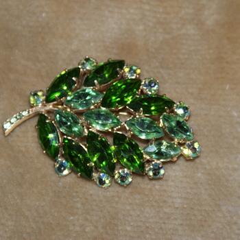 Green and AB Rhinestone Leaf Brooch - Costume Jewelry